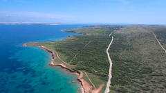 Aerial - Flying high above the coast of Vir with wild beaches Stock Footage