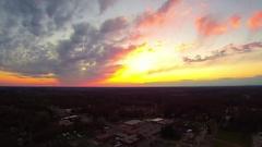 Sun setting landscape view over york south carolina Stock Footage