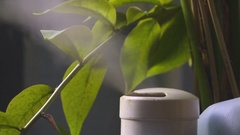 Humidifier produces steam for humidification in the room Stock Footage