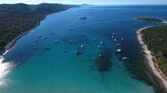 Aerial - Flying high above Sakarun bay and moving down slowly in late afternoon Stock Footage
