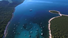 Aerial - Tilting down with camera while hovering above Sakarun beach Stock Footage