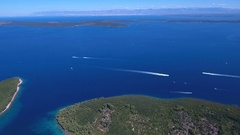 Aerial - Panoramic view of speed boats sailing in waters of Dalmatia Stock Footage