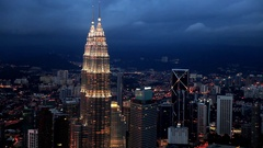 View of Petronas Twin Towers at night Stock Footage
