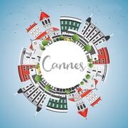 Cannes Skyline with Gray Buildings, Blue Sky and Copy Space. Stock Illustration