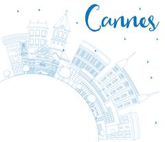 Outline Cannes Skyline with Blue Buildings and Copy Space. Stock Illustration