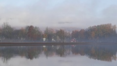 Autumn foggy morning by the lake. Stock Footage