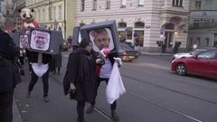 """The Velvet Revolution Carnival  """"Sametové posvícení"""" Editorial Stock Footage"""