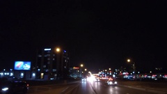 Driving at night on the streets of the city of Toronto Stock Footage
