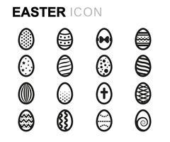 Vector line easter icons set Stock Illustration