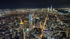 Stunning night view of Manhattan from the bird's-eye view Stock Footage