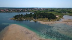 Aerial - Flying above Ždrijac beach of town Nin in Croatia Stock Footage