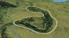 Revolution around Carpathian mountain range - glowed. Topographic map Stock Footage
