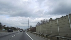Driving into the city of Toronto on the Don valley parkway highway Stock Footage