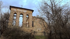 Abandoned church with sun rays and grey stone Stock Footage