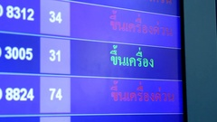 An information board displays in three languages, Thai, English and Chinese Stock Footage