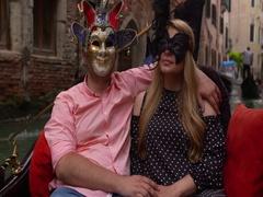Beautiful lovers couple in Romance shot in gondola in Venice Stock Footage