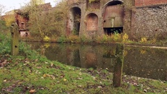 Old industrial stetch of Birmingham canal. Stock Footage