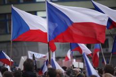 PRAGUE, CZECH REPUBLIC, NOVEMBER 17, 2015: Demonstration against refugees, islam Stock Photos