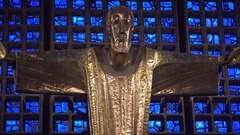 Gold Jesus Christ, blue glass, Kaiser Wilhelm Memorial church, Berlin Stock Footage