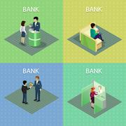 Set of Bank Concepts in Isometric Projection Stock Illustration