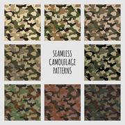 Modern vector fashion trendy camo pattern set Stock Illustration