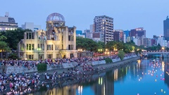 Hiroshima - 6 August lantern ceremony Stock Footage
