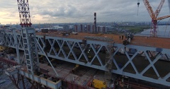 Highway construction. A long highway bridge crossing the gulf. Aerial drone foot Stock Footage