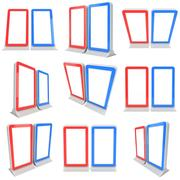 LCD Screen Stand red and blue. Stock Illustration