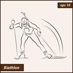Biathlete runs on skis Stock Illustration