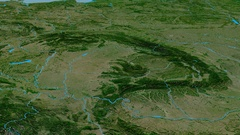 Revolution around Carpathian mountain range - masks. Satellite imagery Stock Footage