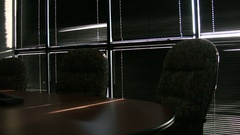 Pan of empty board room Stock Footage