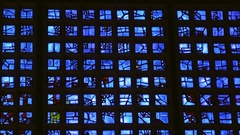 Blue glass windows at Kaiser Wilhelm Memorial church, Berlin, Germany Stock Footage