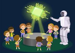 Hobbies kids robot music sports. New technology hologram. Chip. Vector Stock Illustration