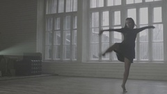 Girl performs contemporary dance in ballroom Stock Footage