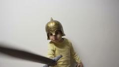 Little Knight Having Fun Stock Footage