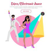Disco and Electronic Dance Conceptual Banner Stock Illustration
