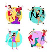 Set Folk, Jazz, Disco or Electric and Street Dance Stock Illustration