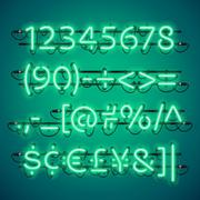 Glowing Neon Green Numbers Stock Illustration