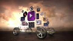 Disassembled car, Car audio video system, entertainment, car technology. sunset. Stock Footage