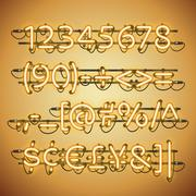 Glowing Neon Golden Numbers Stock Illustration