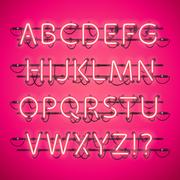 Glowing Neon Pink Alphabet Piirros