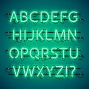 Glowing Neon Green Alphabet Stock Illustration