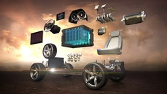 Disassembled car, Electronic, lithium ion battery car.. eco-friendly car. sunset Stock Footage