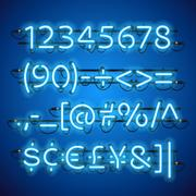 Glowing Neon Blue Numbers Stock Illustration