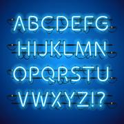 Glowing Neon Blue Alphabet Stock Illustration