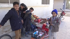 November 2016: Small kids sell things, ISIS war, war news, Mosul, Iraq, Syria Stock Footage