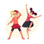 Portrait of teenaged two girls in pink clothes dancing Piirros