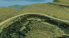 Glide over Carpathian mountain range - glowed. Topographic map Stock Footage