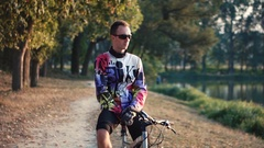 Portrait of a bike rider man Stock Footage