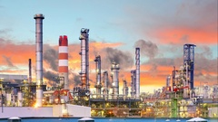 Oil refinery at night - Time lapse motion Stock Footage